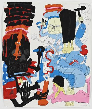 Peace Patrol 2008 Gouache & graphite on paper 51 3/4 x 43 1/4 inches