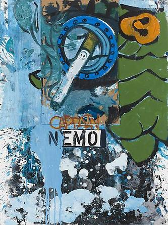 Captain Nemo 2008 Acrylic and mixed media collage on paper 47 ¼ x 34 ¾ in