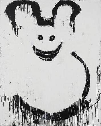 JOYCE PENSATO Abominable Snow Mickey 1995 Enamel on linen 90 x 72 in
