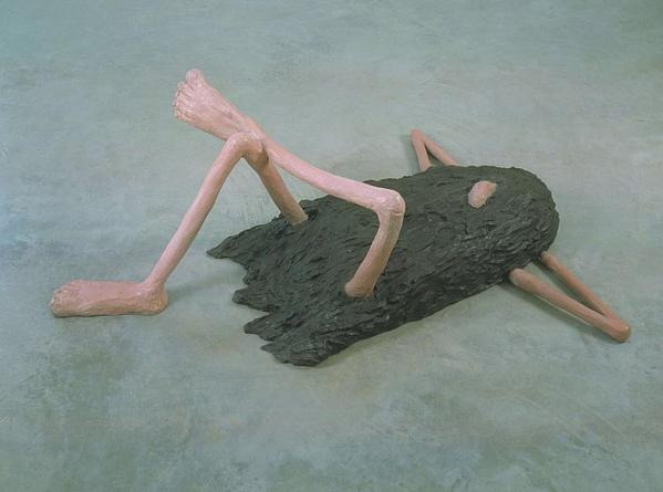 LIZ CRAFT Hairy Guy Laying Down, 2006  Bronze 57 x 40 x 22 inches Unique
