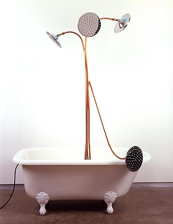 Dirge 2005 Acrylic clawfoot tub, copper pipes, 4 10-inch sunflower showerheads, water pump, stone, water 86 x 60 x 30 inches
