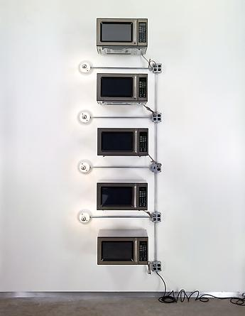 Location, Location, Location 2001 Microwave ovens, porcelain light fixtures, mirrored light bulbs, electrical hardware 112 x 36 x 17 inches