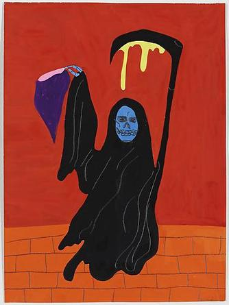 Who Just Killed the Wizard? 2010 Gouache & graphite on paper 14 7/8 x 11 inches
