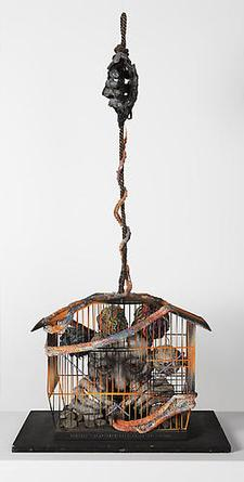 TETSUMI KUDO Portrait D'Artiste dans la Crise 1977 Mixed media with birdcage 34 x 16 x 9 in