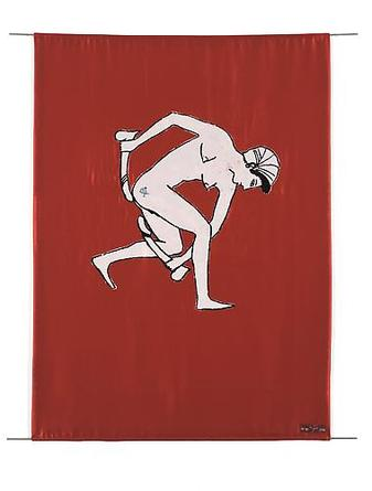 NANCY SPERO Dancer 2006 Screenprinted banner (two silk panels with cotton lining, sewn together), printed on both sides, two 36