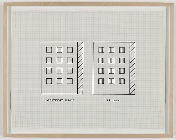Apartment House, Prison, 1981 Pen on graph paper 17 x 22 inches