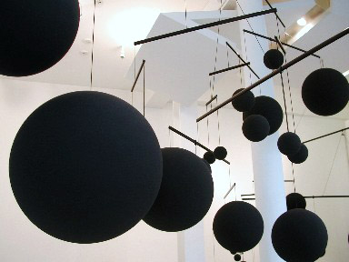 Mobile (detail) 2005 Plastic, paint, aluminum, nylon 25 spheres Dimensions variable