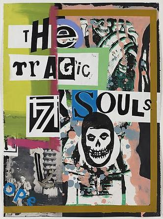 The Tragic Souls 2010 Acrylic, screenprint & collage on paper 30 x 22 inches 33 3/4 x 25 3/4 inches (framed)