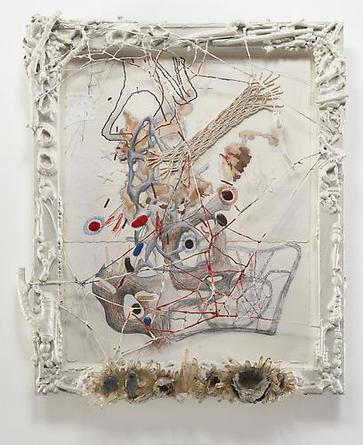 RANDY WRAY Still Rantings II 2005 Pencil, acrylic, polymer clay, macramé, quartz crystals, sewn paper  in artist's frame of wood, shells, crystals, geodes, wire, epoxy resin, enamel 26 x 21 1/2 inches Unique