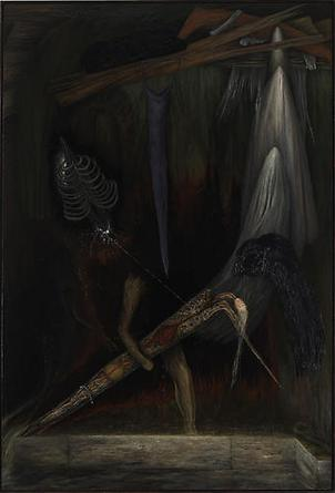 DAN BURKHART Entombment, The Last Gasp 1979-91 Oil on canvas 82 x 55 ¾ in