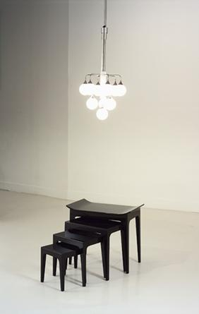 Modern Reproduction Series No. 1 (Reflections on another life), 2004 Italian sixties lamp, black lacquer tables, refrigeration unit dimensions variable