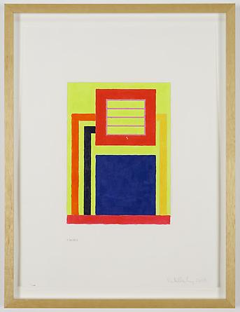 Untitled, 2008 Acrylic & Day-Glo acrylic on digitally printed paper 21 x 16 inches