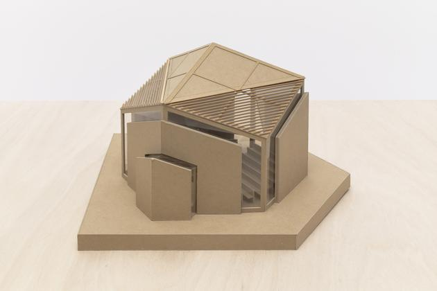 ALEXANDER GORLIN Model for Temple Sinai, Roslyn, NY, n.d. Cardboard, plexiglass, wire mesh 10 x 16 1/2 x 15 1/2 inches