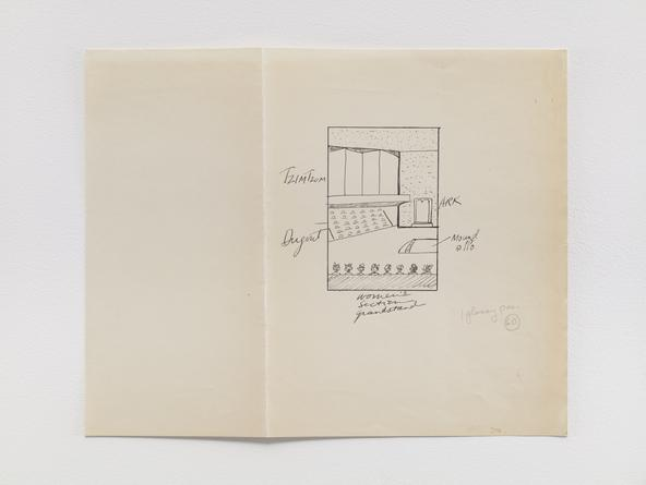 BARNETT NEWMAN Synagogue sketch, c1963 Pen & ink on paper 8 3/4 x 14 inches