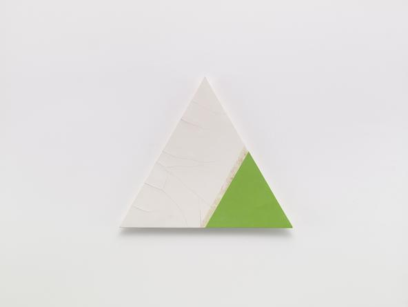 Angles (Cracks Green Tip), 2005 Oil, cold wax medium & gesso on linen over wood 21 1/4 inches each side SGI3187