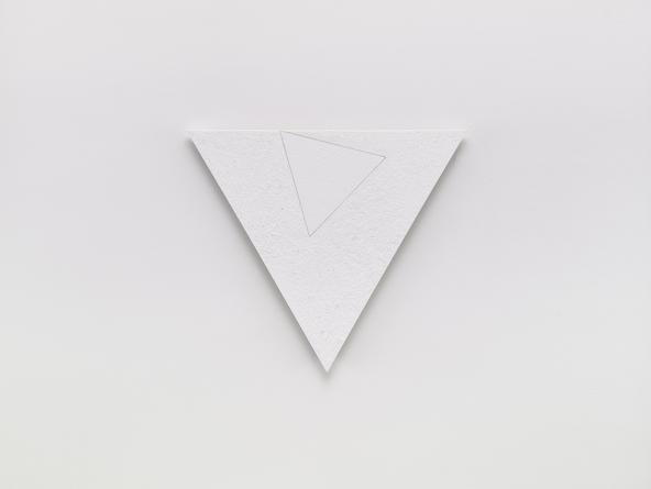 Angles (White Enough), 2000 Titanium dioxide, zinc white, graphite & gel medium on linen 21 1/4 inches each side SGI3192