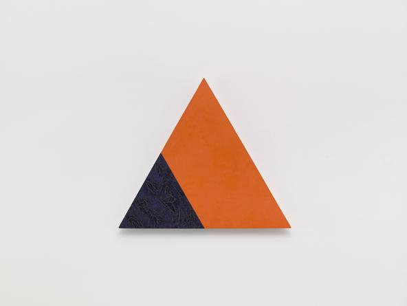 Angles (orange and blue), 2001 Oil, cold wax medium & gesso on linen over wood 21 1/4 inches each side SGI3202