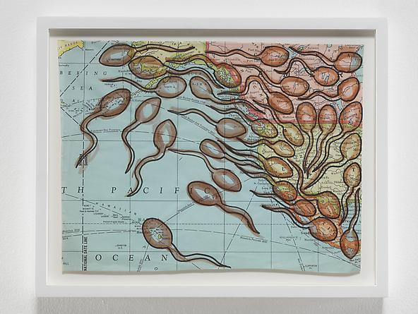 radio amnesia pt 2: a survey of works on paper 1997-2013 David Wojnarowicz Untitled (Sperm Map I), n.d. Ink on map 9 1/2 x 12 inches GLG2448