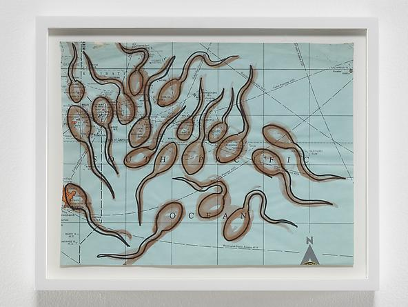 radio amnesia pt 2: a survey of works on paper 1997-2013 David Wojnarowicz Untitled (Sperm Map II), n.d. Ink on map 9 1/2 x 12 inches GLG2449