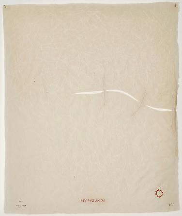 My Wounds #30, 2006-09 Perforated, handmade abaca paper, thread & ink 17 1/2 x 15 inches GLG2452