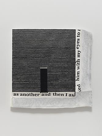 Untitled #4, 2013 Oil, ink, thread & nails on linen 17 1/4 x 17 1/2 inches GLG2528