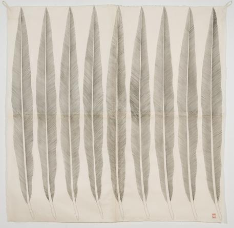 #18 (9 Feathers), 2010 Graphite, carbon & ink on collaged Abaca paper 79 x 79 inches SGI2834