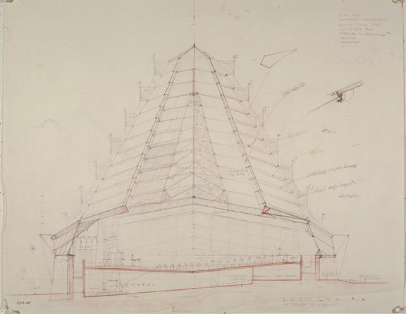 FRANK LLOYD WRIGHT Plan for the Beth Shalom synagogue,  1954 Reproduction