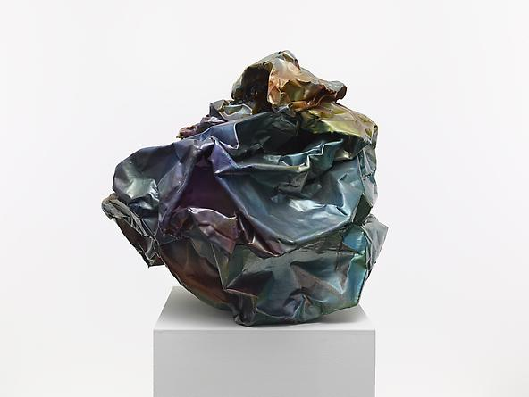 JOHN CHAMBERLAIN Asarabaca, 1973 Industrial weight aluminum foil with acrylic lacquer & polyester resin 22 x 25 1/2 x 27 inches SGI2683