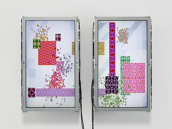 Swarms, 2002 Custom software, Apple Mac mini, two 30 x 18 inch LCD screens, mounting hardware 31 x 42 x 6 inches Series of 3 SGI170