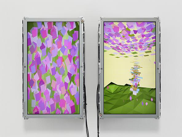 Fountain, 2004 Custom software, Apple Mac mini, two 30 x 18 inch LCD screens, mounting hardware 31 x 42 x 6 inches Series of 3 SGI1914