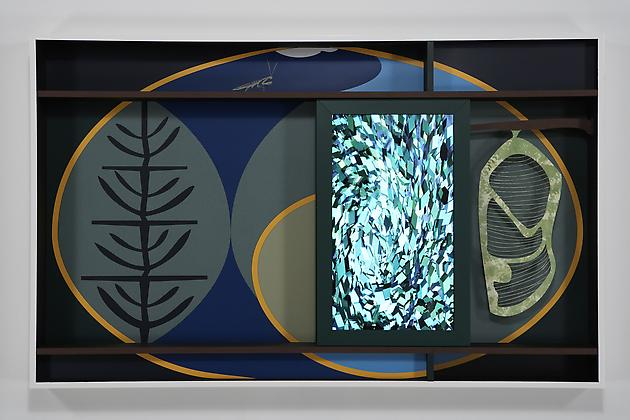 Spiral, 2007 Custom software, LCD screen, Formica, acrylic plastic, gouache on paper, lacquered wood 44 ½ x 72 x 6 inches SGI620