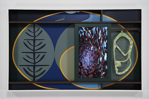 Spiral, 2007 Custom software, LCD screen, formica, acrylic plastic, gouache on paper, lacquered wood 44 1/2 x 72 x 6 inches SGI620