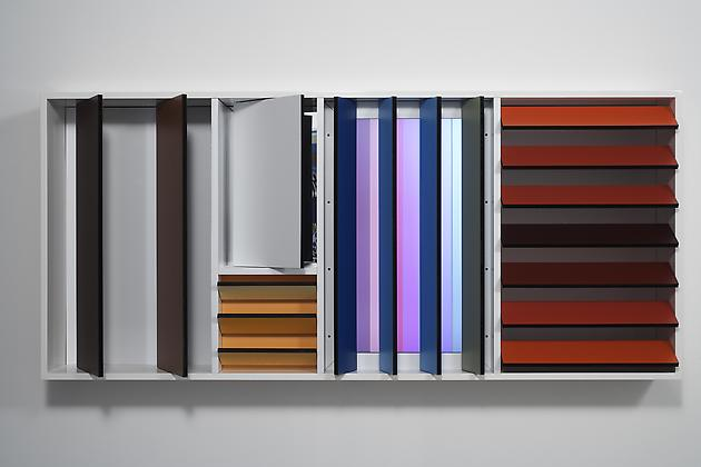 Flip, 2007  Custom software, LCD screen, Formica, acrylic plastic, mirrored acrylic plastic, lacquered wood 33 x 73 ¾ x 8 inches SGI621