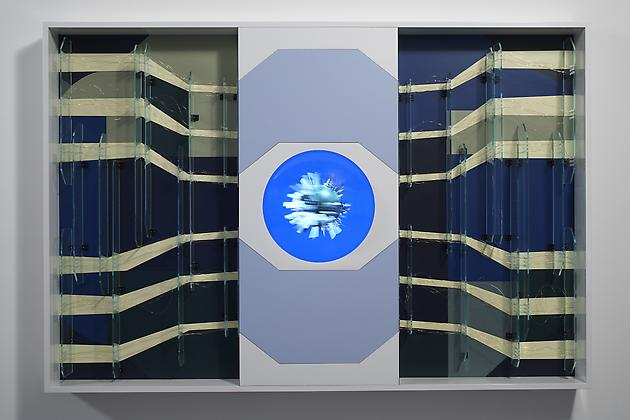 Chip, 2007 Custom software, LCD screen, Formica, mirrored acrylic plastic, gold-plated wire, lacquered wood, hardware 49 1/2 x 73 1/2 x 6 inches SGI622