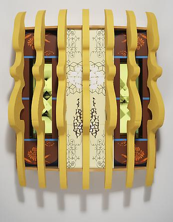 Crown, 2007 Custom software, LCD screen, Formica, acrylic plastic, gouache on paper, lacquered wood 48 x 48 x 14 ½ inches SGI626