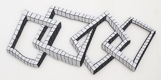 Interlocked Squares, 2009 Formica, acrylic paint, wood 21 x 46 x 3/4 inches SGI2742