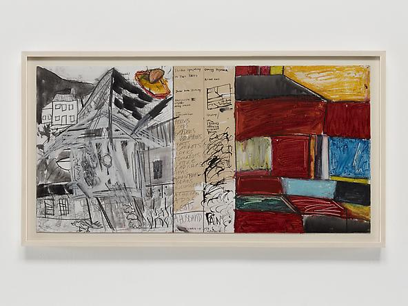 Double Symphony, 1976 Oil crayon, ink, graphite & gesso on board 15 3/4 x 32 inches GLG2351