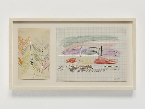 Stroke Diagram Diptych, 1970 Colored pencil, pastel & graphite on paper Left sheet: 8 x 5 inches Right sheet: 8 1/2 x 11 inches GLG2364