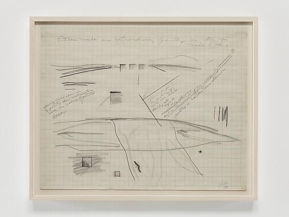 Untitled (graph paper notes), 1970 Graphite on graph paper 17 1/2 x 22 inches GLG2375