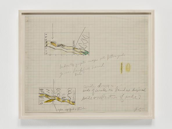 Untitled (graph paper stroke sketch), 1971 Graphite & colored pencil on graph paper 17 1/4 x 22 1/8 inches GLG2376