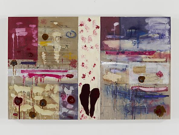 Break In Two My Heart, 2011 Oil, acrylic, silk, velvet, paper & graphite on linen 37 x 59 inches GLG2382