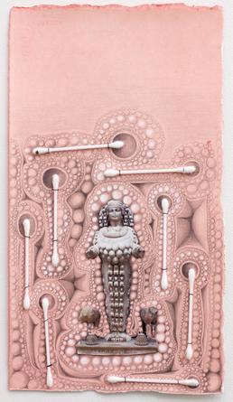 Hygiene (1), 2013 Acrylic, graphite, gouache, collage, Q-Tips & thread on paper 13 x 7 1/4 inches SGI2939