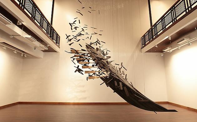 Metamorphosis, 2006 Stainless steel, iron, wood, monofilament 15 x 11 1/2 feet, height variable SGI2762