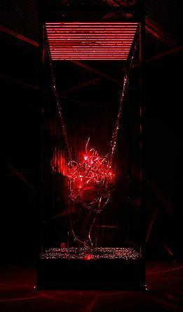 Undying Heart, 2009 Laser lights, engine parts, steel, iron, air pump, fog machine 122 x 44 x 44 inches SGI2765