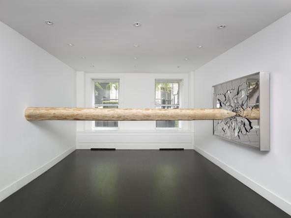 Ksana, 2015 Mirror finished stainless steel, steel, wood Steel: 49 x 73 x 6 inches; wood: 14 1/2 feet long SGI2854