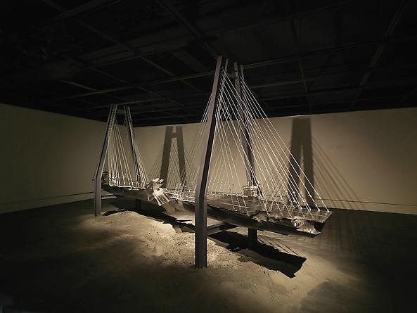 Bridge, 2006 Stainless steel, steel cables, iron, paint 12 x 26 x 5 feet SGI2761