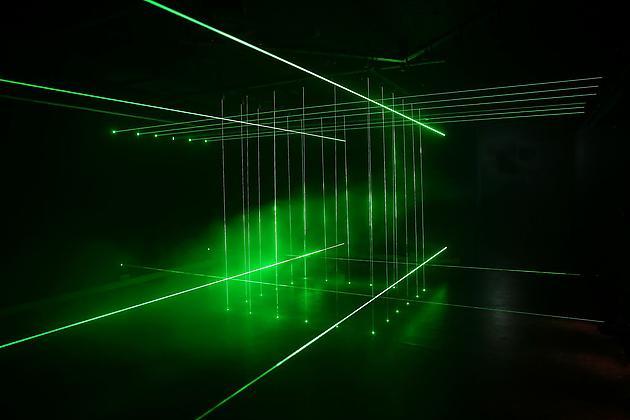 Cage, 2011 Laser lights, fog machine Installation size variable SGI2760