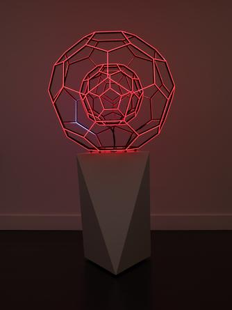 Buckyball, 2014 LEDs, custom software, electrical hardware 36 x 36 x 36 inches Edition of 3 Base: 36 x 24 x 24 inches