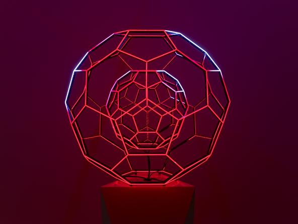 Buckyball, 2014 LEDs, custom software, electrical hardware 36 x 36 x 36 inches Edition of 3