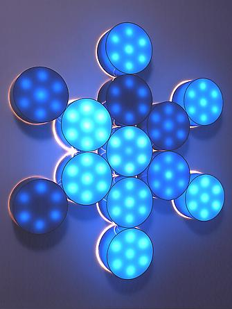 Metatron, 2002 Plexiglas, incandescent light bulbs, custom software, electrical hardware 60 x 60 x 6 inches